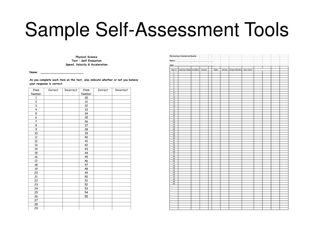 Sample Self-Assessment Tools