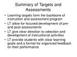 summary of targets and assessments