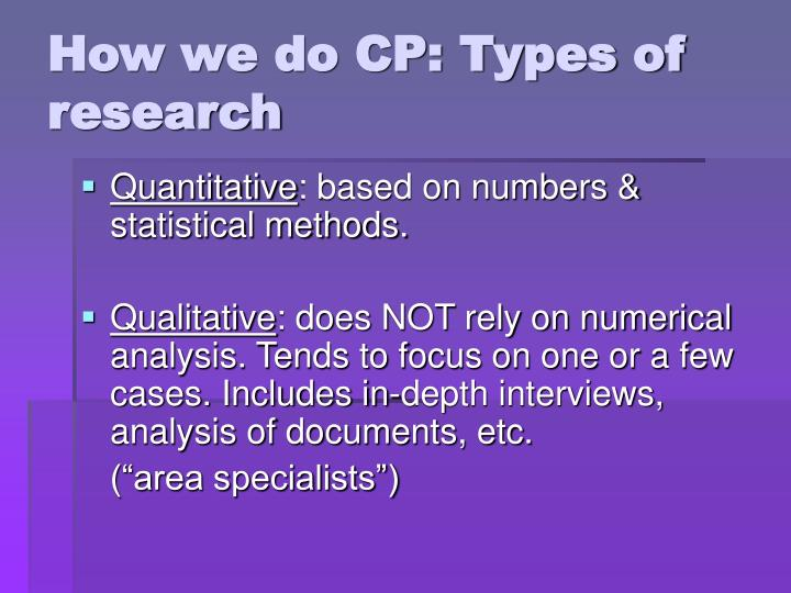 How we do CP: Types of research