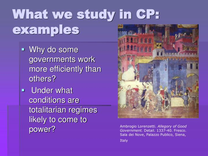 What we study in CP: examples