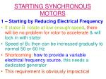 starting synchronous motors