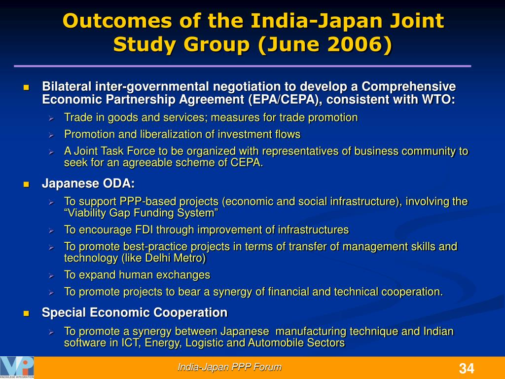 Outcomes of the India-Japan Joint Study Group (June 2006)