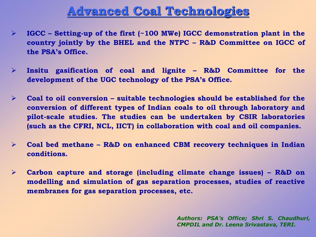 Advanced Coal Technologies