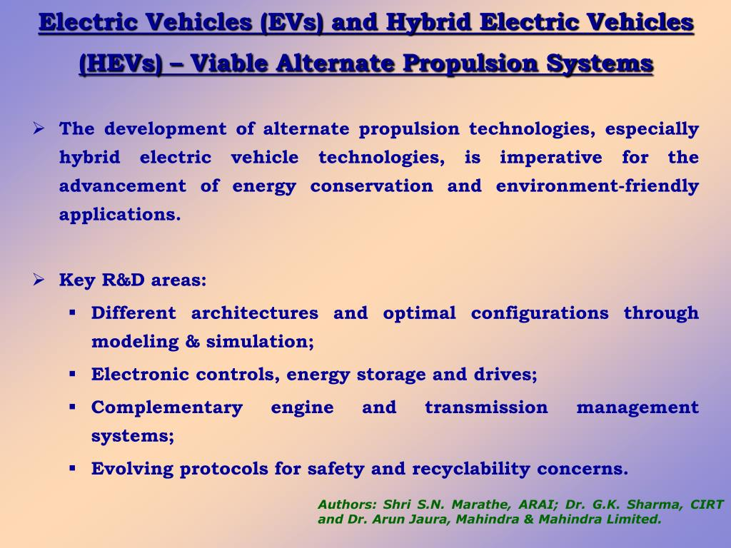 Electric Vehicles (EVs) and Hybrid Electric Vehicles (HEVs) – Viable Alternate Propulsion Systems