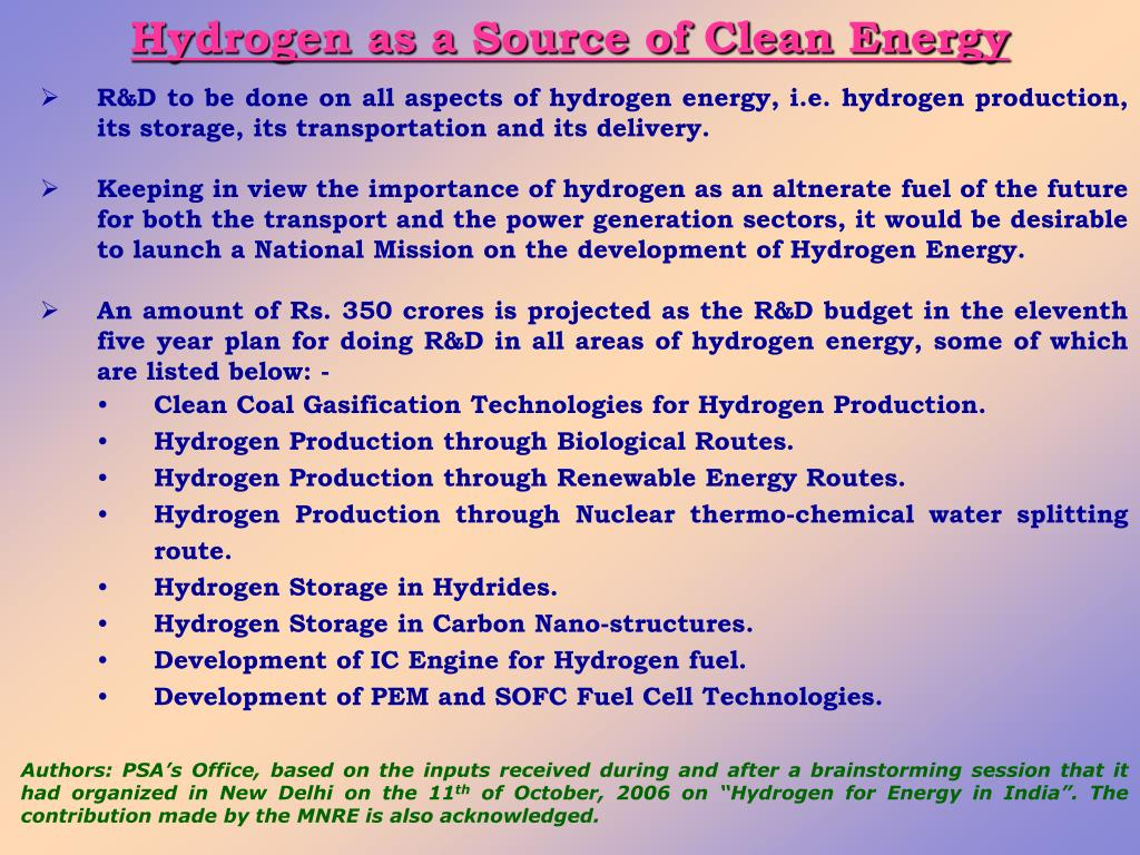 Hydrogen as a Source of Clean Energy