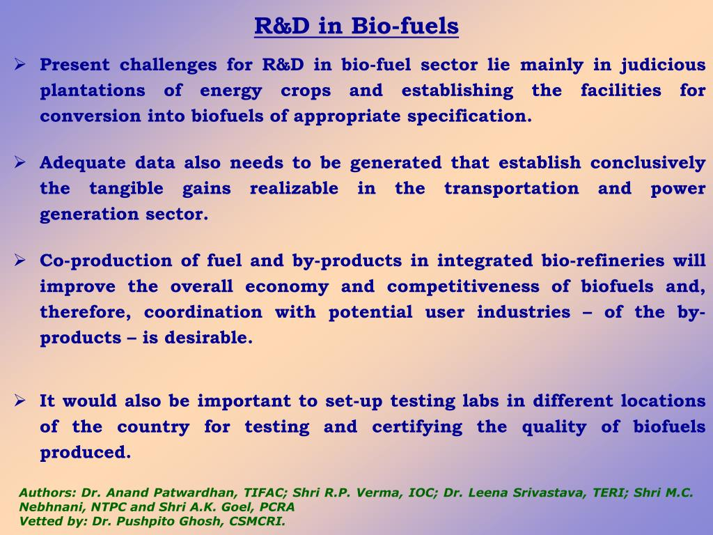 R&D in Bio-fuels
