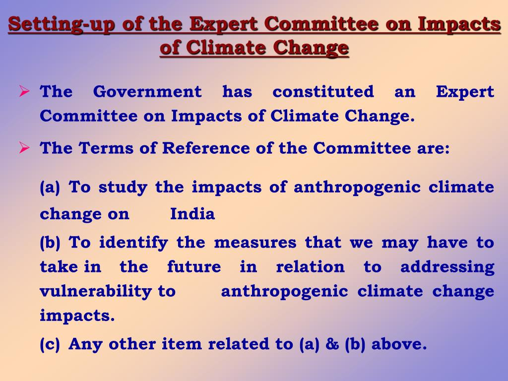Setting-up of the Expert Committee on Impacts of Climate Change