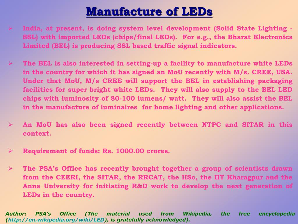 Manufacture of LEDs