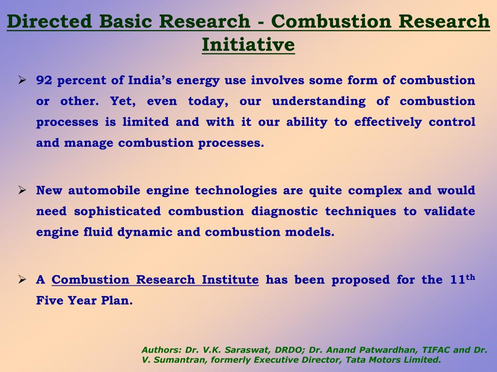 Directed Basic Research - Combustion Research Initiative