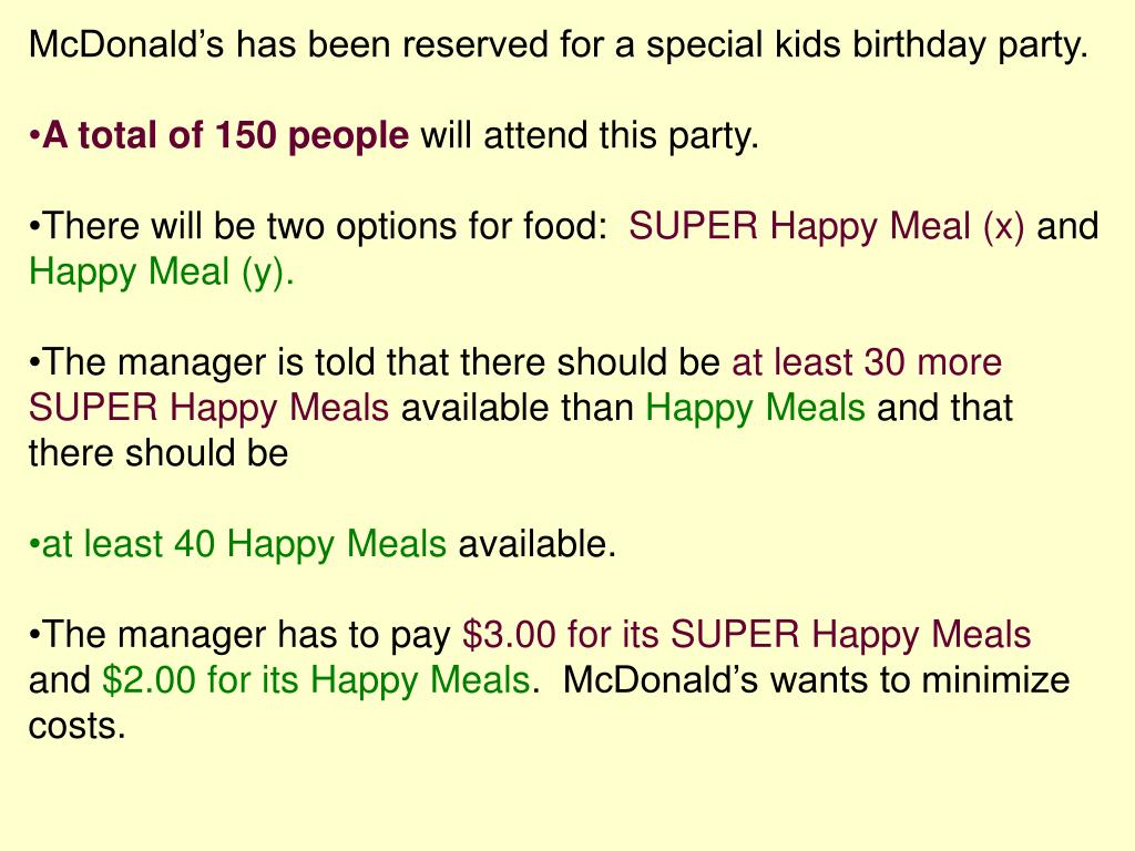 McDonald's has been reserved for a special kids birthday party.