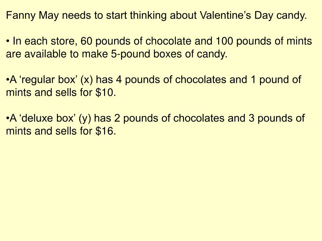 Fanny May needs to start thinking about Valentine's Day candy.