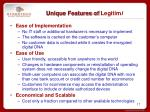 unique features of legitim i