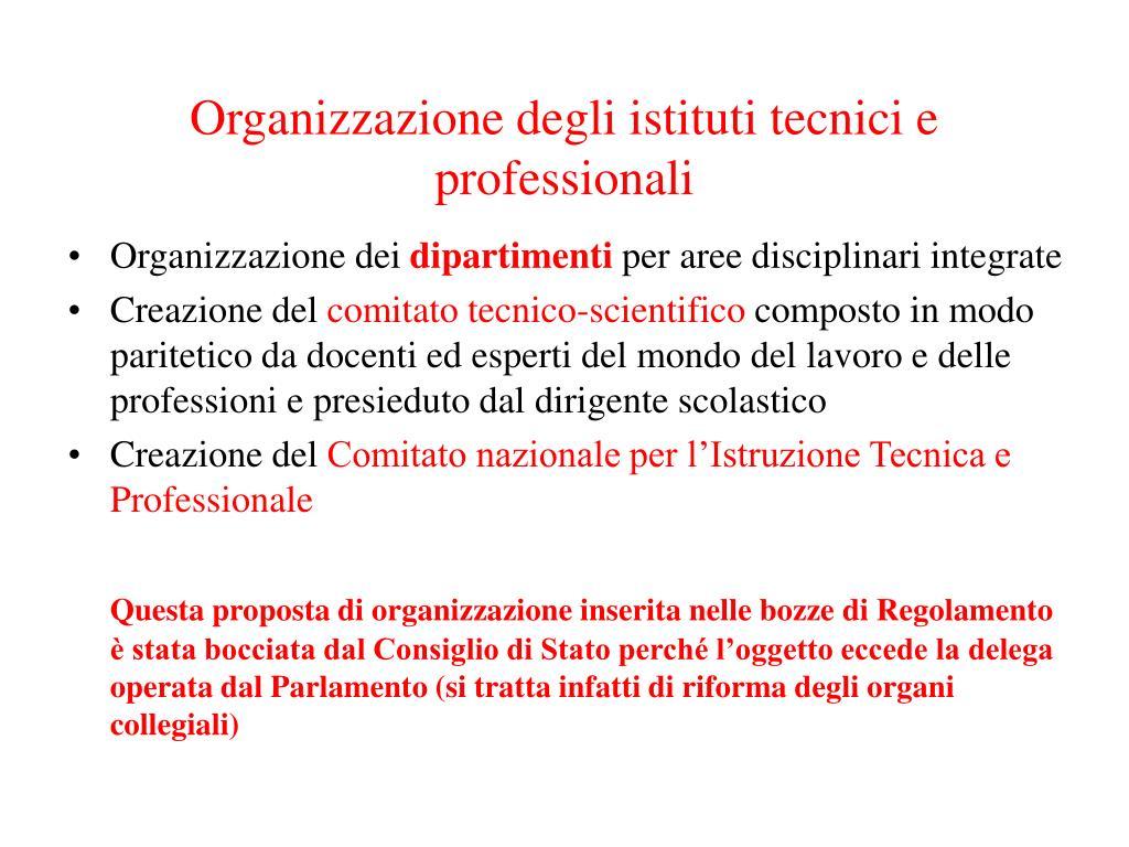 Organizzazione degli istituti tecnici e professionali
