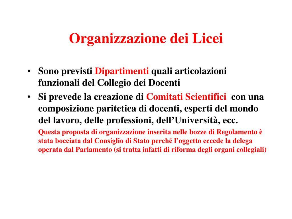 Organizzazione dei Licei