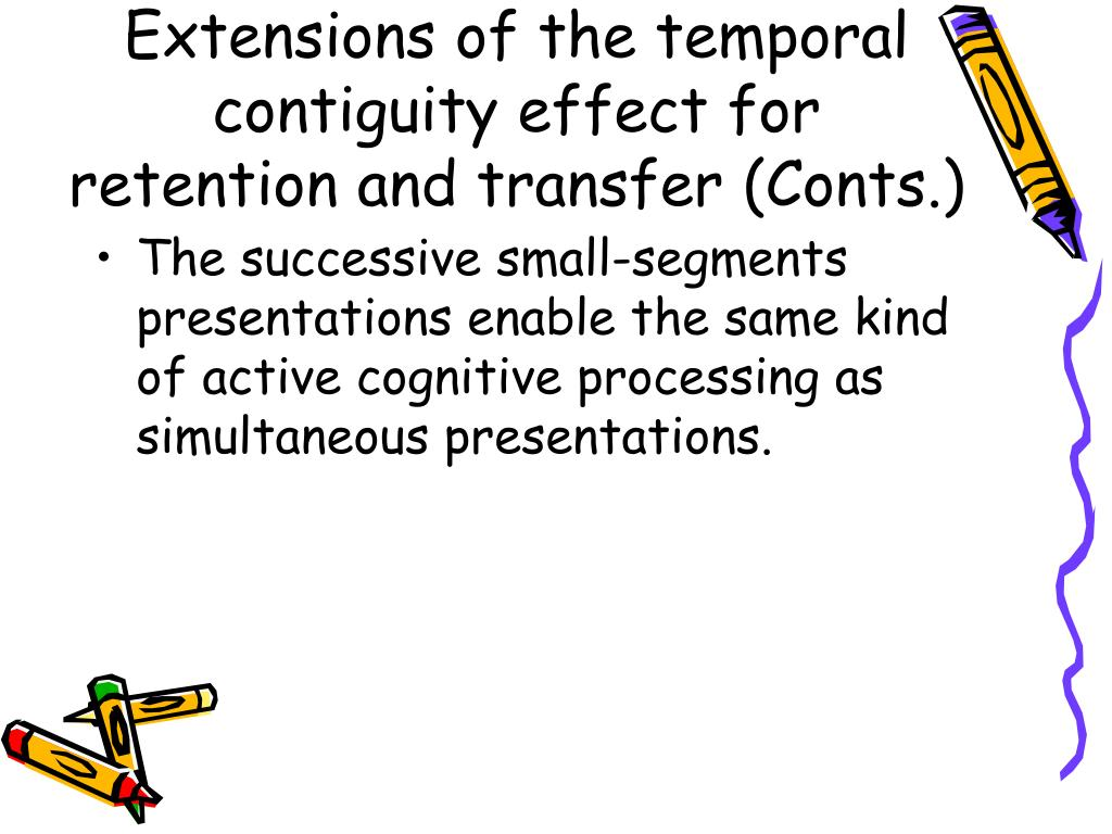 Extensions of the temporal contiguity effect for retention and transfer (Conts.)