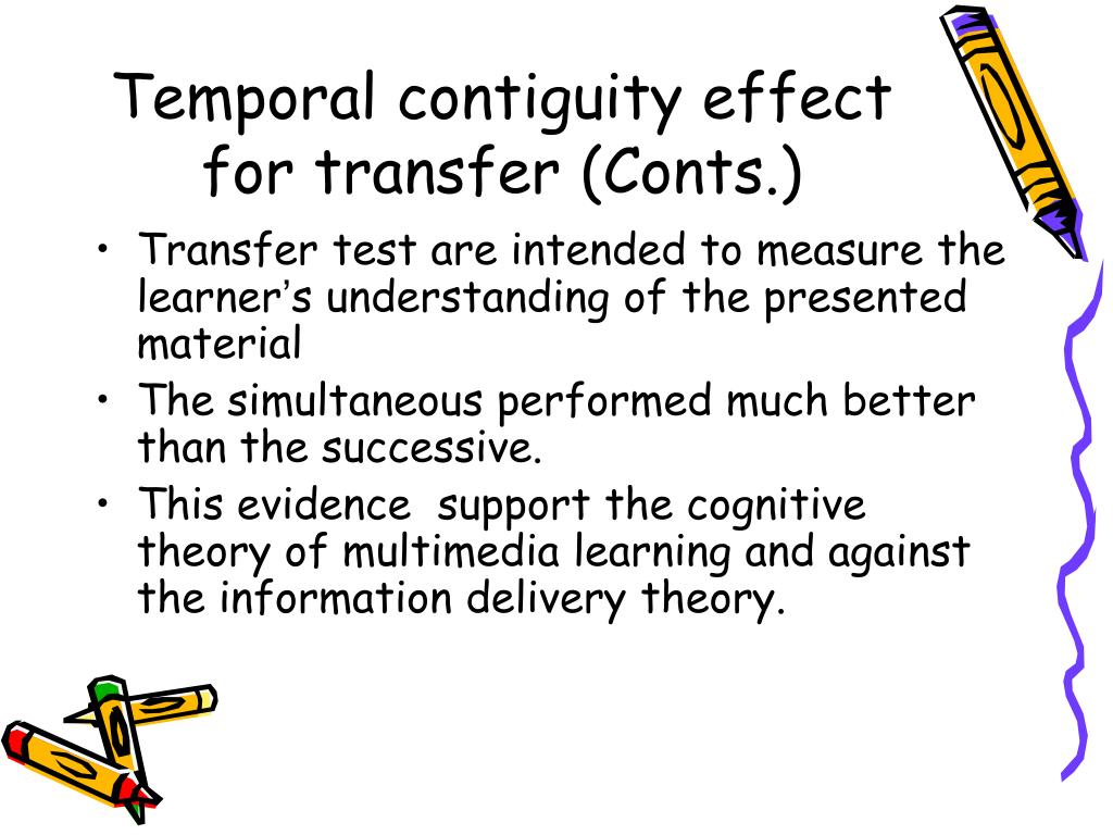 Temporal contiguity effect for transfer (Conts.)