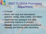 visit florida promotions department