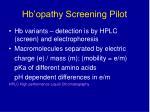 hb opathy screening pilot13