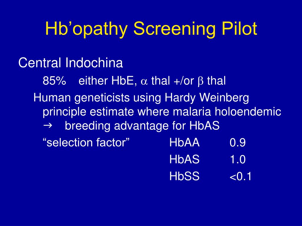Hb'opathy Screening Pilot