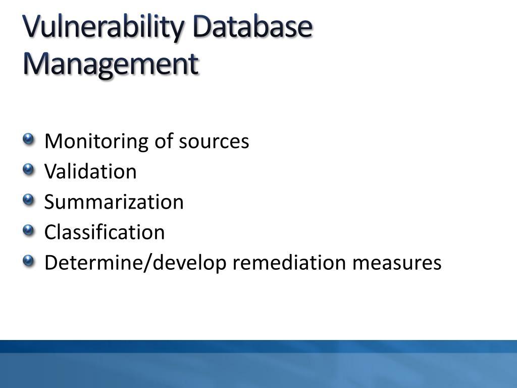 Vulnerability Database Management