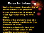 rules for balancing