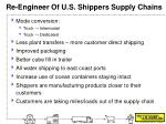 re engineer of u s shippers supply chains