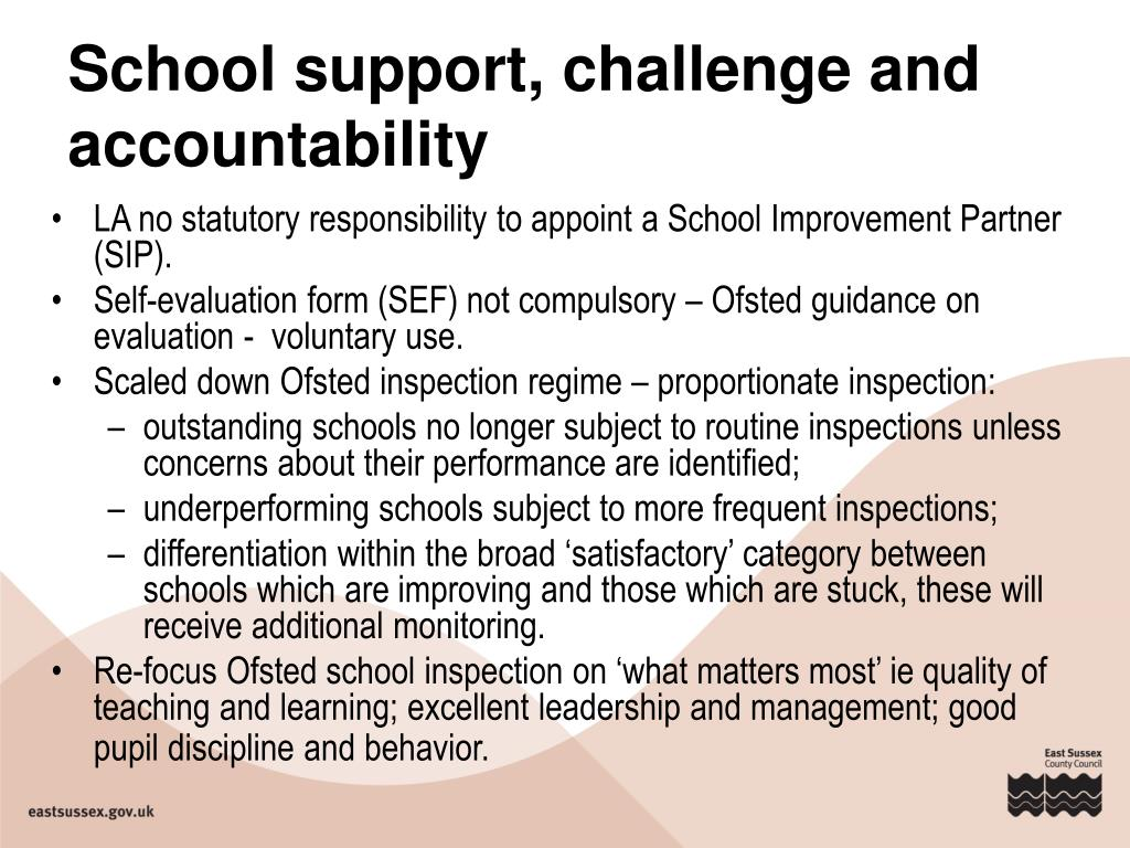School support, challenge and accountability