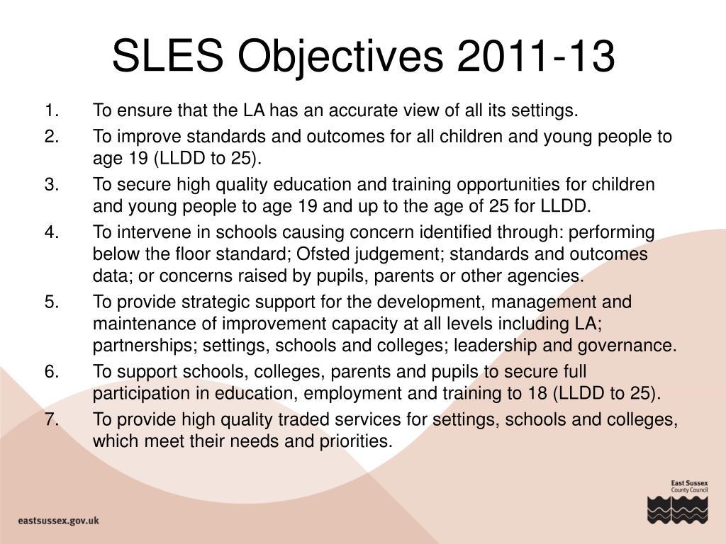 SLES Objectives 2011-13