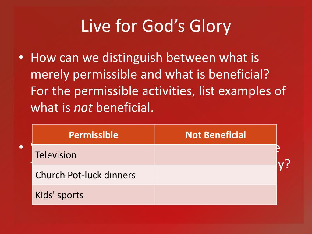 Live for God's Glory