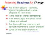 assessing readiness for change