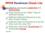 ppor readiness check list