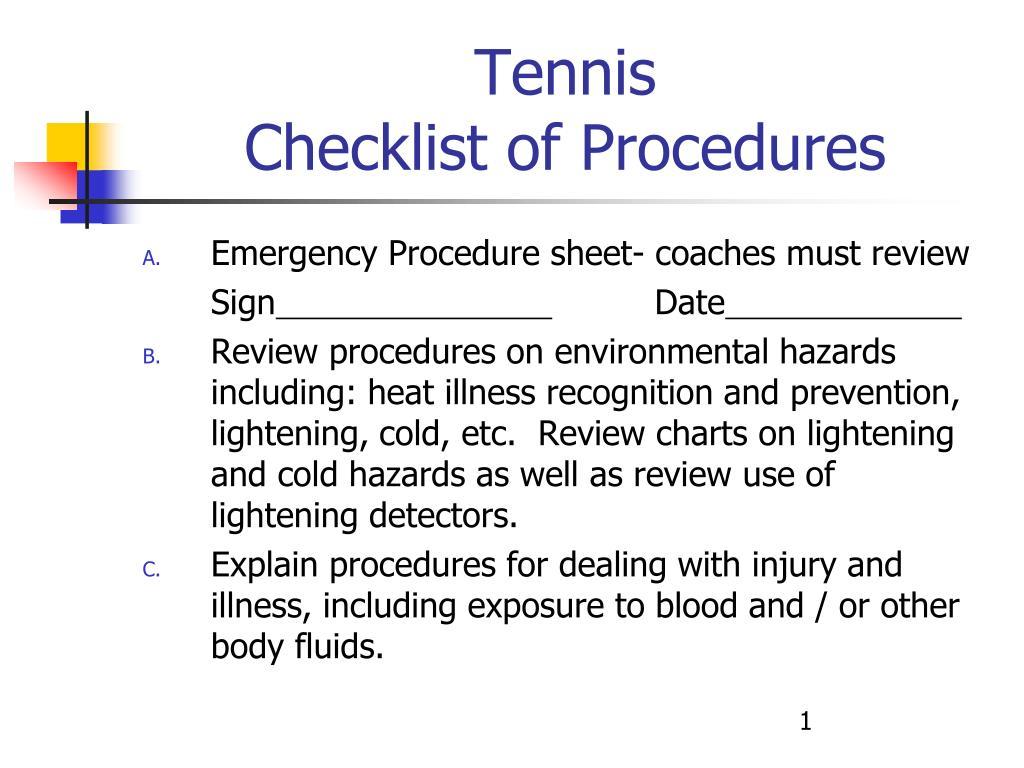 tennis checklist of procedures