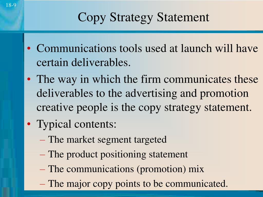 Copy Strategy Statement