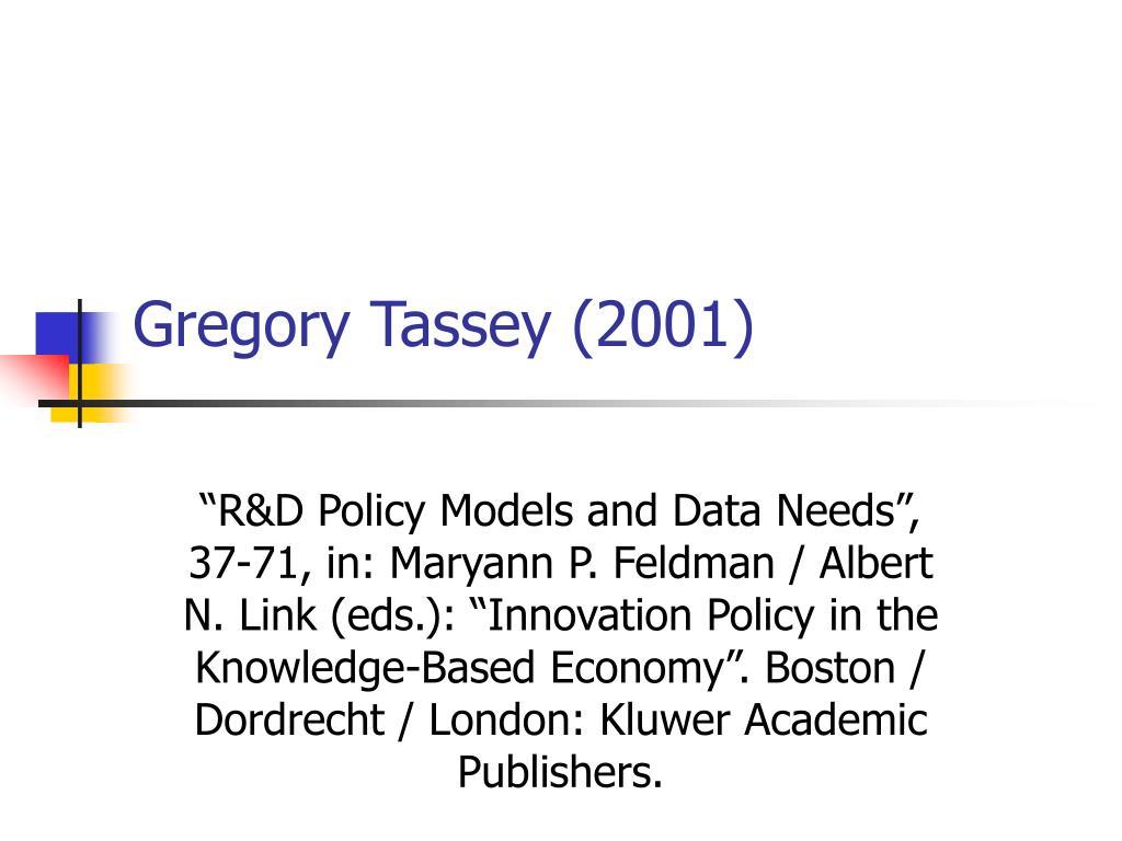 gregory tassey 2001