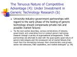 the tenuous nature of competitive advantage 4 under investment in generic technology research b