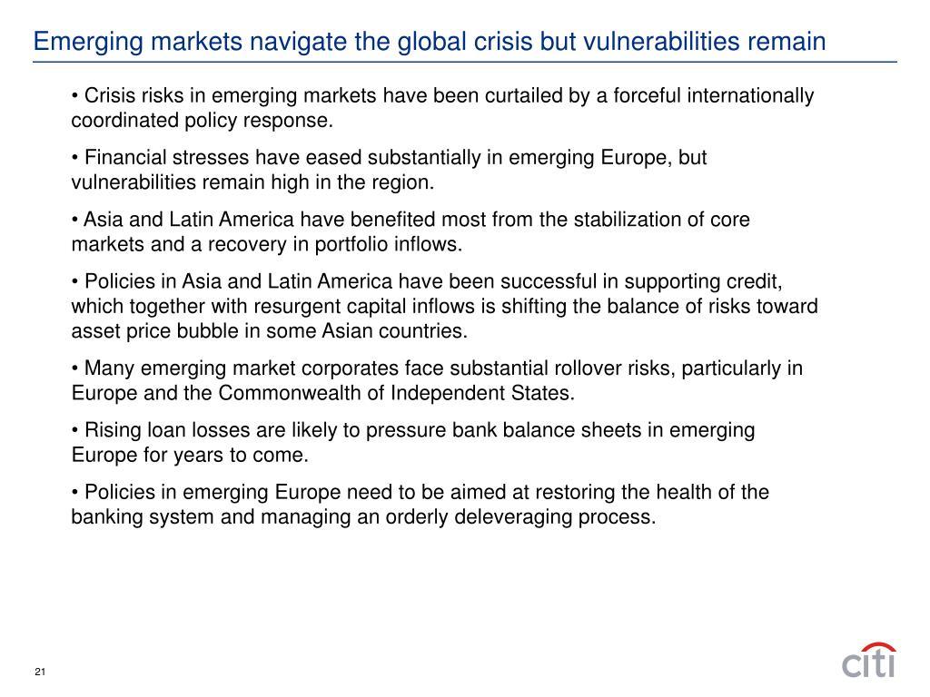 Emerging markets navigate the global crisis but vulnerabilities remain