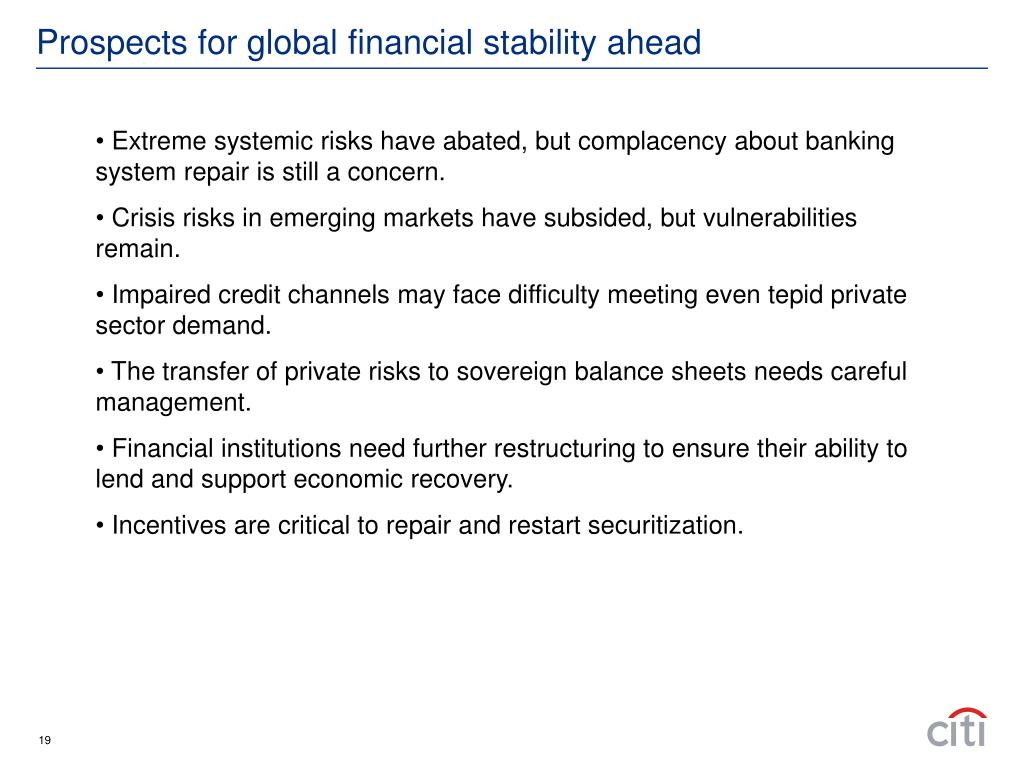 Prospects for global financial stability ahead