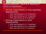 ranking research service teaching in terms of importance