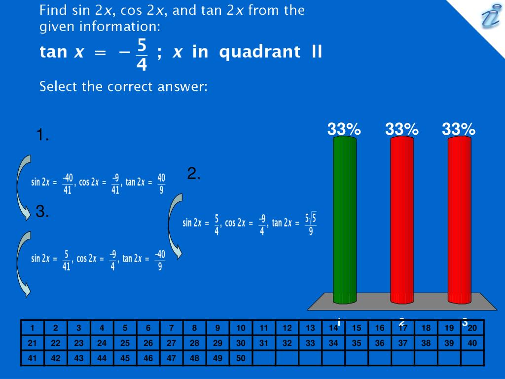 find sin 2x cos 2x and tan 2x from the given information image select the correct answer