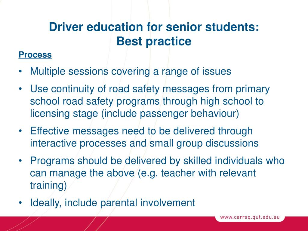Driver education for senior students: