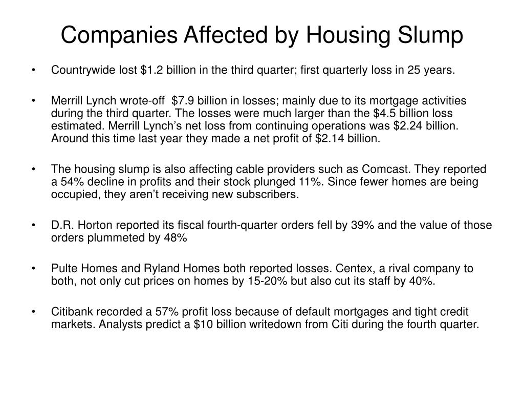Companies Affected by Housing Slump