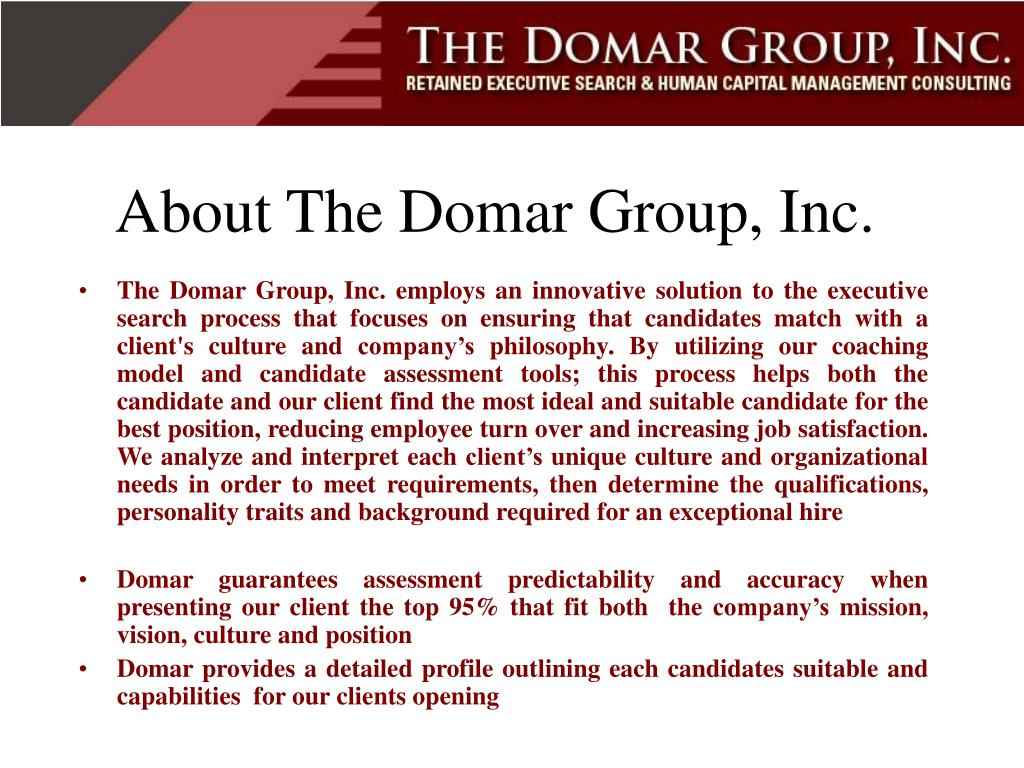 About The Domar Group, Inc.