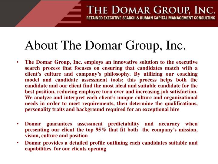 About the domar group inc