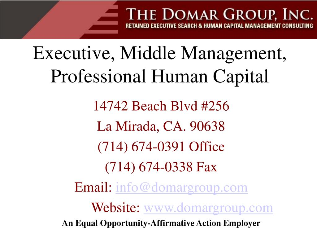 Executive, Middle Management, Professional Human Capital