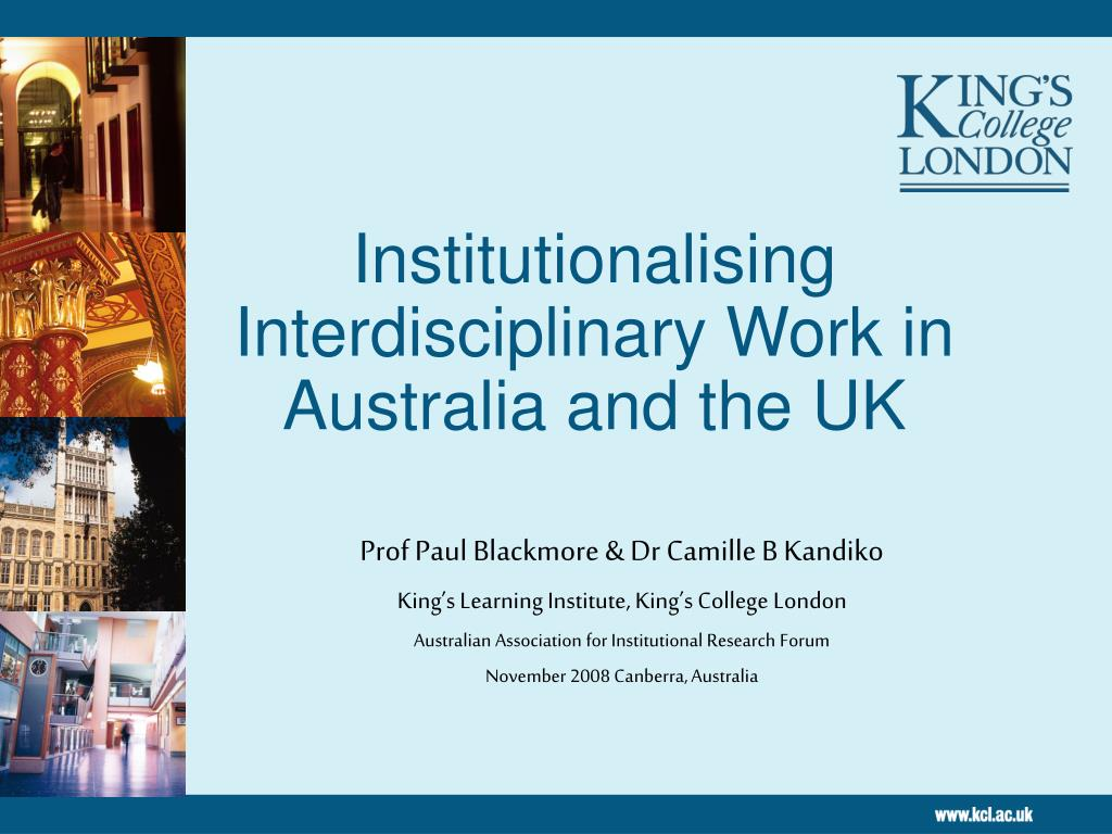 institutionalising interdisciplinary work in australia and the uk