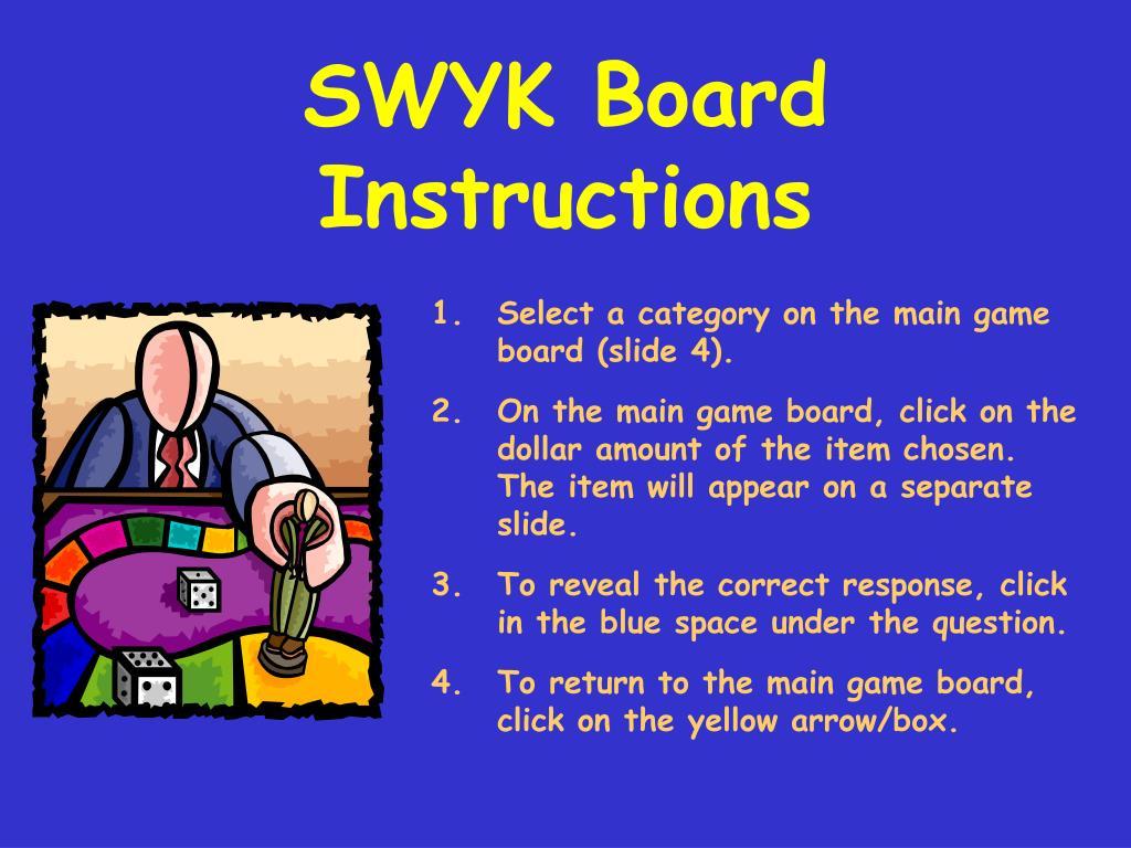 SWYK Board Instructions