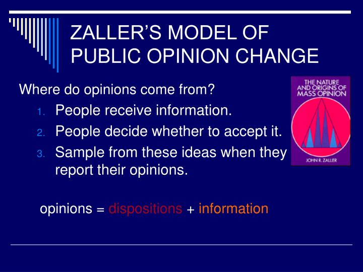 ZALLER'S MODEL OF PUBLIC OPINION CHANGE