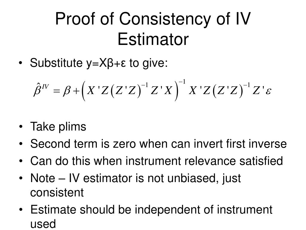 Proof of Consistency of IV Estimator