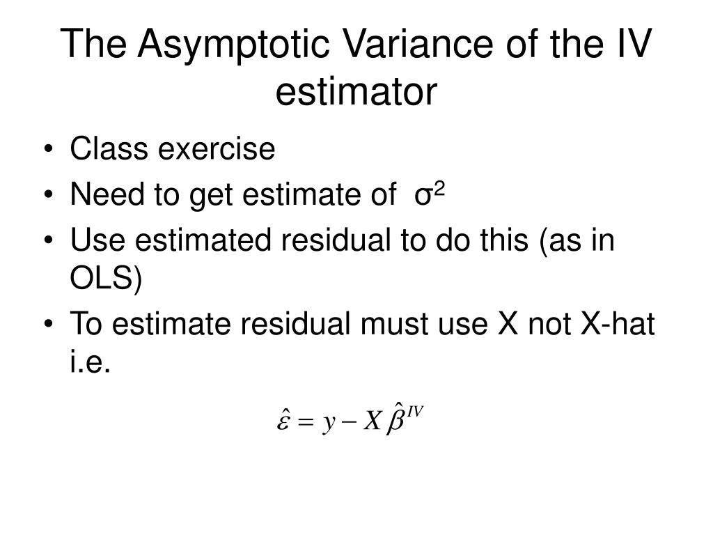 The Asymptotic Variance of the IV estimator
