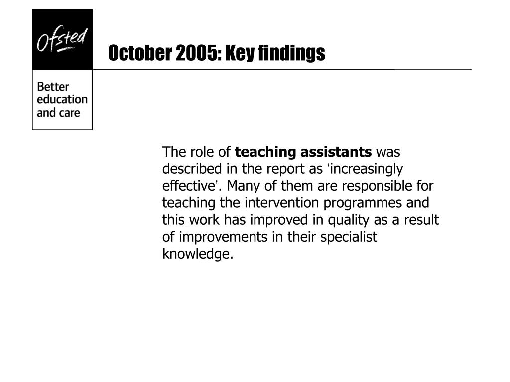 October 2005: Key findings